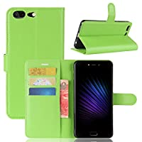 Leagoo T5 Case Cover,Moonmini カバー 保護シェル Anti-Scratch Wallet Case [Card Pocket] Protective Shell Armor Hybrid Shockproof Rubber Bumper Cover with Card Slot Holder - Green