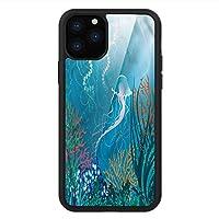 iPhone 11 Pro Max 用 強化ガラスケース クリア 薄型 耐衝撃 黒 カバーケース 水族館 海のクラゲ iPhone 11 Pro 2019用 iPhone11ケース用