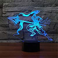 WJPDELP-YEDE 3D Ledゲームフィギュアモデリングナイトライト7色変更戦士テーブルランプUsbルームLamparaスリープ照明の装飾キッズギフト