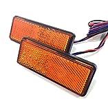 バイク テール ブレーキ 連動 SMD LED リフレクター 反射板 角型 2個 セット 汎用 レッド アンバー (アンバー)