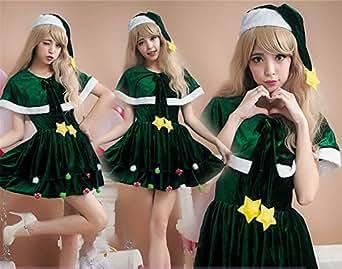 サンタ衣装 コスチューム グリーン レディース