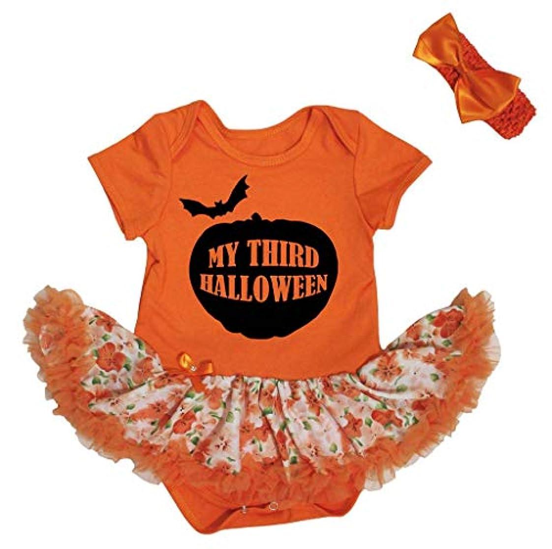 パラシュート環境プロフェッショナル[キッズコーナー] ハロウィン My Third Halloween パンプキン オレンジ ボディスーツ ドレス ベビー服 子供チュチュ Nb-18m (オレンジ, Medium) [並行輸入品]