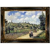 "Pissarro Landscape near Pontoise TheシュルオワーズRoad 1881–Framedキャンバス印刷Reproduction 19"" x 28"" p1003-pissarro0009-19x28-cmfr238gb98"