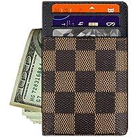 Dayke Slim Checkered Credit Card Holder - Minimalist Front Pocket Wallet for Men & Women (Checkered Brown)