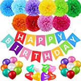(Multi Color) - Birthday Party Decorations Supplies Favours, Acetek Happy Birthday Banner Flags 6 Colourful Tissue Paper Pompom Balls, 18 Balloons, Heart Garland for Birthday, Baby Shower, Bridal, Wedding
