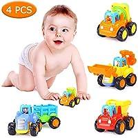 Lobay 摩擦式自動車 4パック プッシュアンドゴー 建設車両 おもちゃセット トラクター ブルドーザー ミキサー トラック ダンパー 早期教育 カートゥーン 遊び 赤ちゃん 幼児用