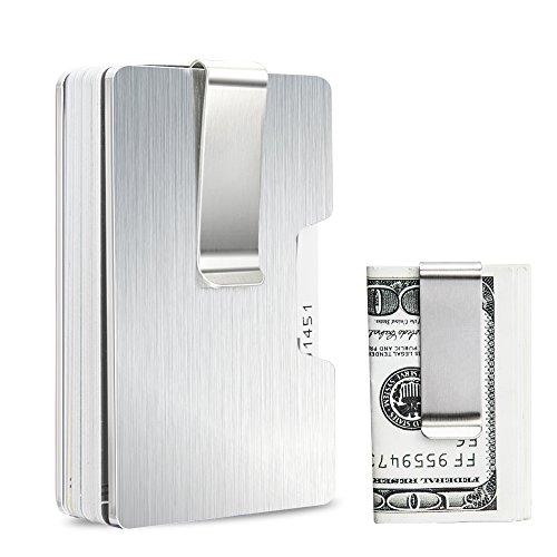 マネークリップ クレジットカードケース アルミニウム製 RFID&磁気スキミング防止 ゴム型 大容量 カードと紙幣収納 カード12枚収納可 高級でシンプル 名刺入れ 2つクリップ付き(取り外す可能)持ち運び便利 自分用もプレゼント用も最適 父の日プレゼント