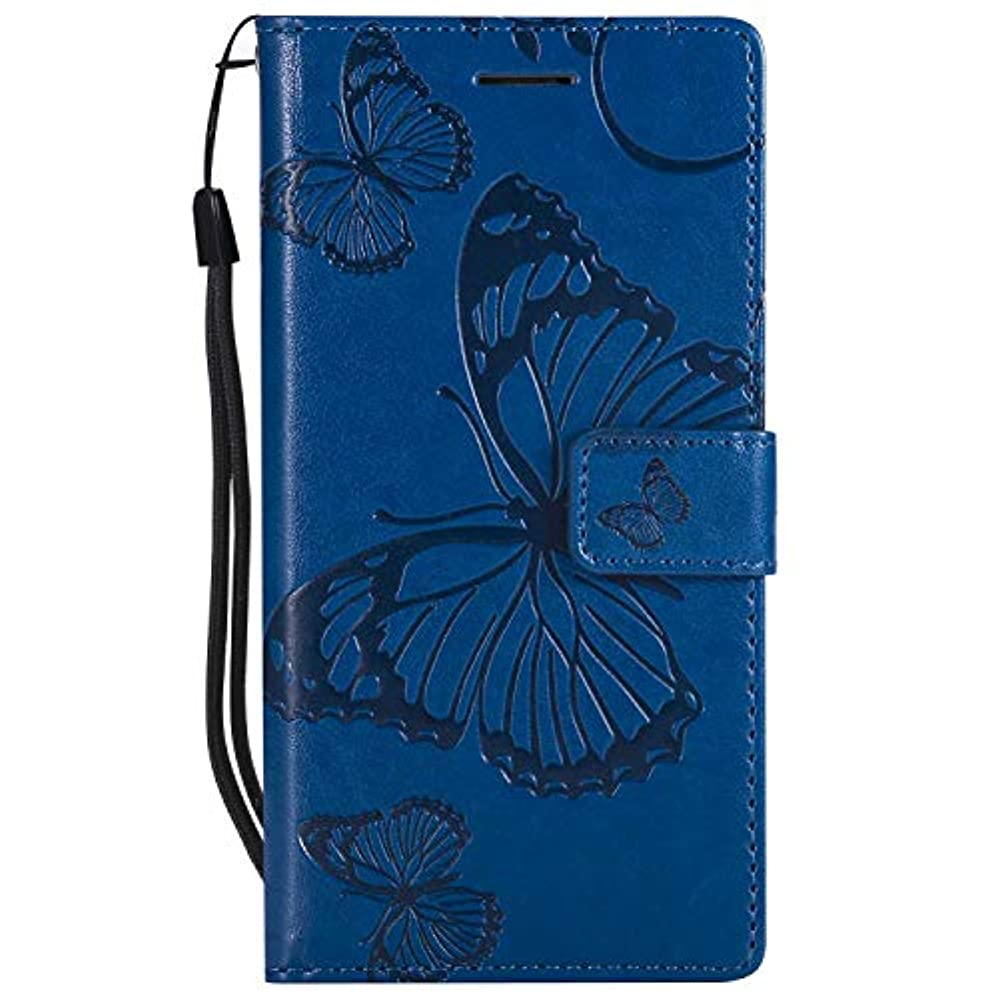 ピジン前提でもCUSKING Huawei P8 ケース Huawei P8 カバー ファーウェイ 手帳ケース カードポケット スタンド機能 蝶柄 スマホケース かわいい レザー 手帳 - ブルー