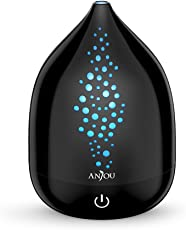 Anjou アロマディフューザー 超音波式 加湿器 空気清浄機 タッチセンサー 7色変換LEDライト 8時間連続使用 空焚き防止機能 200ml (ブラック) [一年間安心保証]