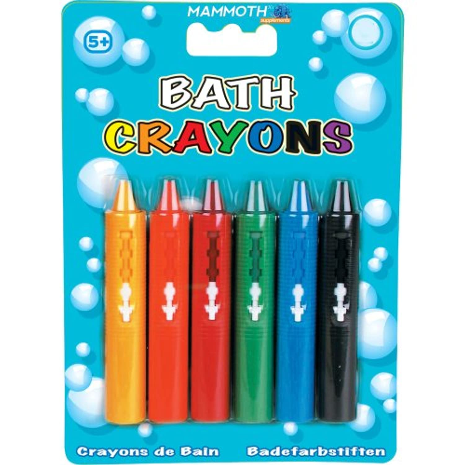 6 x Washable Bath Crayons - SIX COLOURS / COMES IN CASE