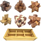 Marvelous-AU 6-in-One 3D Luxury Wooden Brain Puzzle Teaser Kongming Lock for Teens and Adults Includes Storage Box