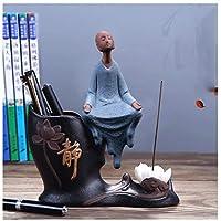セラミッククリエイティブホームデコレーション装飾品禅小さな僧侶ペンホルダーリビングルームオフィスフィギュアモダンミニマリズム (色 : B)