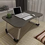 Laptop Bed Table, Aitmexcn Foldable Portable Lap Standing Desk with Cup Slot, Notebook Stand Breakfast Bed Tray Book Holder for Sofa, Bed, Terrace, Balcony, Garden - Blake