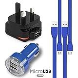 青 Blue MicroUSBマルチチャージャーパック4個1 x 1000 mAh 3ピンUKメインズアダプタープラグx 2 FLAT 1.1メーターUSB 2.0充電ケーブルNokia E52用デュアルポートUSB 2.1 / 1アンプカーチャージャーアダプター1個