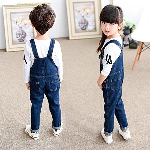 サロペット デニム パンツ キッズ 子供 女の子 男の子 ロンパース ロングパンツ デニムジーンズ オーバーオール ジーンズ デニムオールインワン パンツ (120(適応身長120cm))