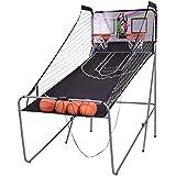 センサーArcadeダブルショット電子バスケットボールゲーム2プレーヤーW/2 Hoops & 4ラバーボール