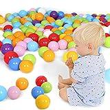 おもちゃボール カラーボール Haibei 子供用ボール100個入り 7色 直径5.5cm PE製 収納ネット付(プール/ボールハウス用)