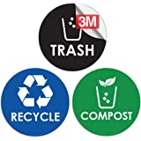 Recycle Trash Compost Bin Sticker - 4 x 4 - Organize Garbage Waste from Recycling - Decal Stickers for Metal Aluminum Steel o