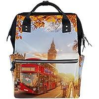 ママバッグ マザーズバッグ リュックサック ハンドバッグ 旅行用 イギリスの秋 バス プリント ファション