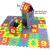 Kergu アルファベットと数字のフォームパズルブロック玩具 36個 (各ピースの寸法2×2インチ) 36pcs NO