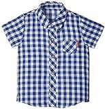 (チャックル) chuckle *ボンシュシュ*ギンガムチェックガーゼ半袖シャツ ブルー 90cm P3333-90-31