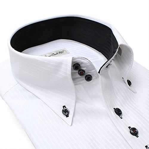 ドレスシャツ 長袖ワイシャツ Yシャツ 衿高トレボットーニボタンダウン 3連ボタンデザイン コンバーチブルカフス