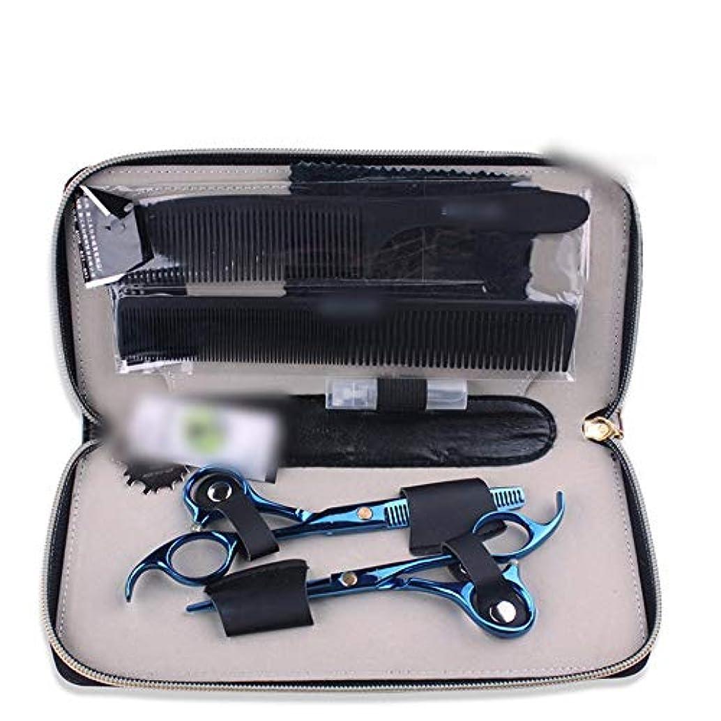 技術者右測定可能青い専門のはさみ5.5インチの理髪はさみセット ヘアケア (色 : 青)