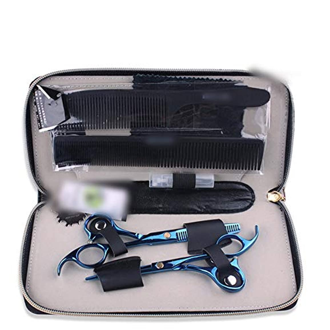狭い指定毎週青い専門のはさみ5.5インチの理髪はさみセット モデリングツール (色 : 青)