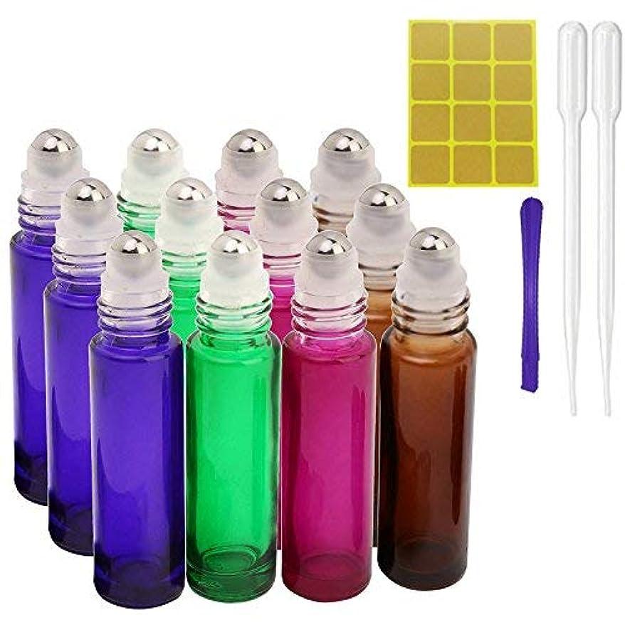 未払い満たす定常12, 10ml Roller Bottles for Essential Oils - Glass Refillable Roller on Bottles with 1 Opener, 2 Droppers, 24...