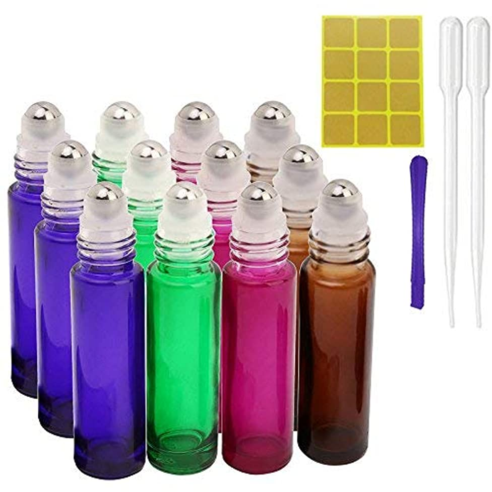 処理八病的12, 10ml Roller Bottles for Essential Oils - Glass Refillable Roller on Bottles with 1 Opener, 2 Droppers, 24 Pieces Labels, Suitable for Aromatherapy, Essential Oils By JamHooDirect (4 Colors) [並行輸入品]