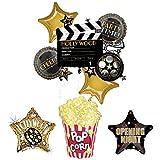 ムービーナイトパーティー用品 バルーンブーケデコレーション ハリウッドフィルムクラッパー ポップコーン