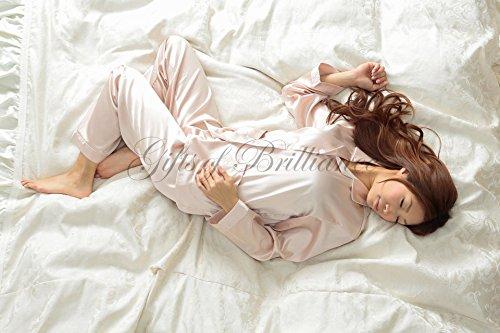 Gifts of Brilliance 4色 レディース パジャマ エレガント 前開き 長袖 絹 シルク 風 女性 用 ルームウェア 部屋着 パープル レッド ベージュ ブルー プレゼント ギフト 包装可 (1) Mサイズ (対象身長目安: 150-160cm), ベージュ) PJ_1014