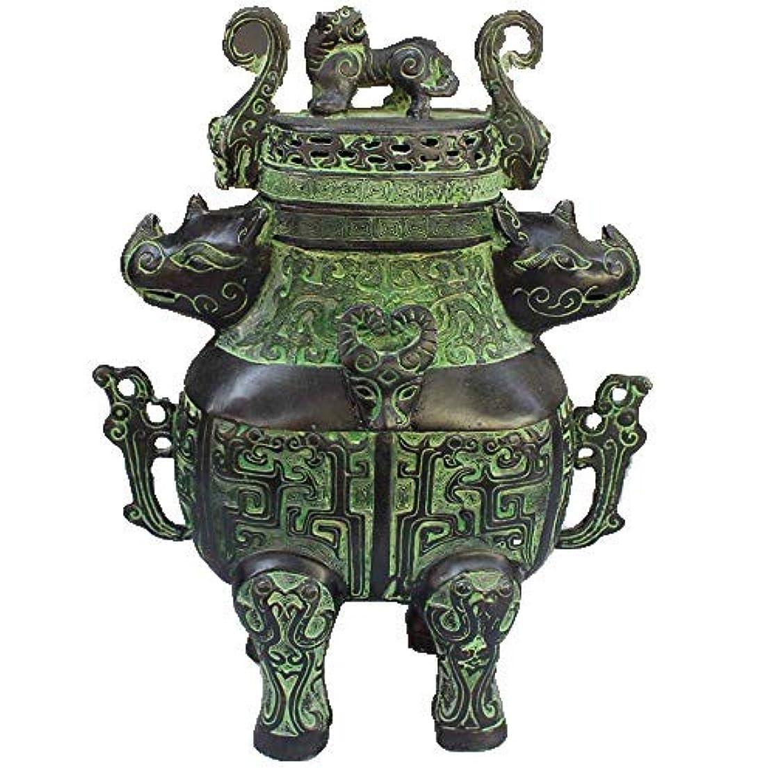 上向きあからさまアフリカ人Chinese Bronze rhinoceros head beast head incense burner statue