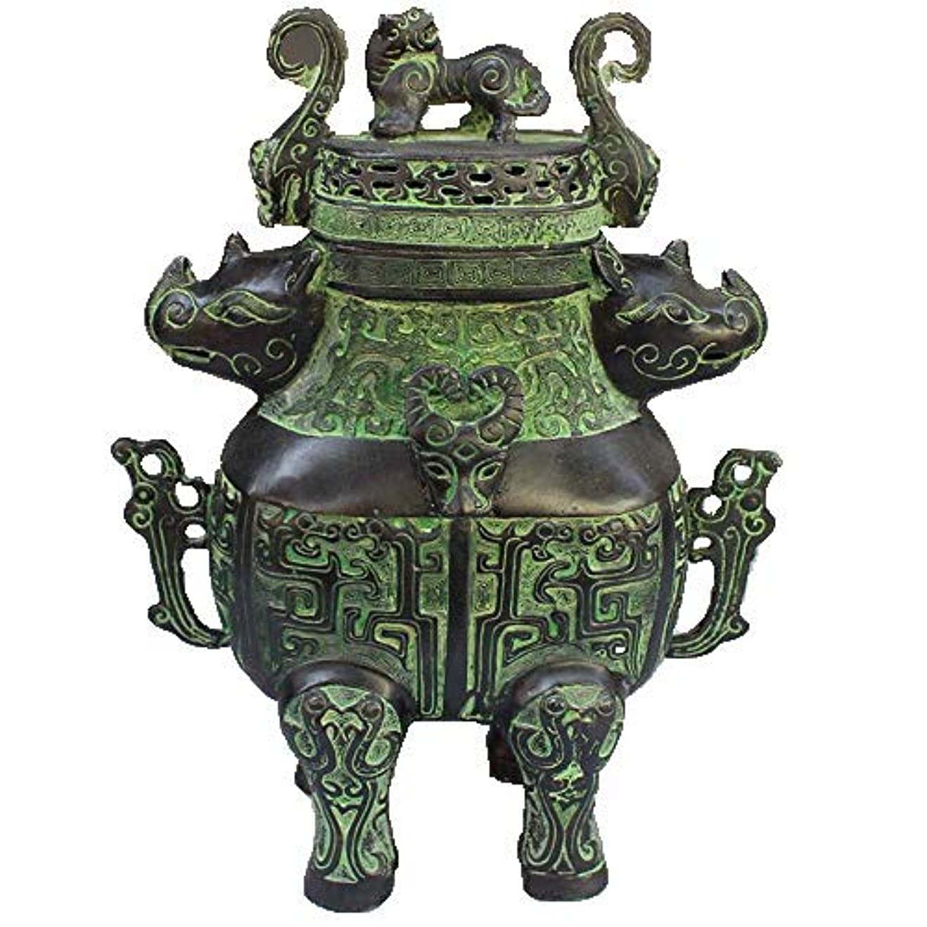 胴体単語確保するChinese Bronze rhinoceros head beast head incense burner statue