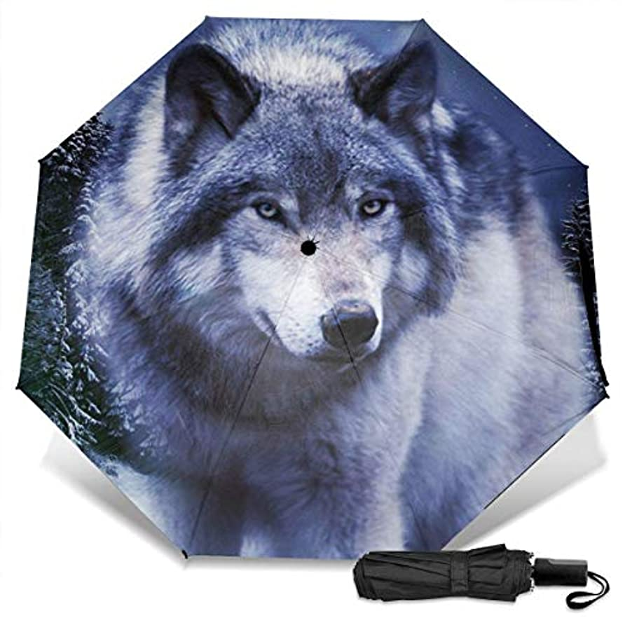 病者王室ビジター勇敢で速いオオカミ折りたたみ傘 軽量 手動三つ折り傘 日傘 耐風撥水 晴雨兼用 遮光遮熱 紫外線対策 携帯用かさ 出張旅行通勤 女性と男性用 (黒ゴム)