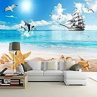 Ansyny カスタム3D写真の壁紙ビーチ海の青空白い雲ヨットイルカ鳥リビングルームのソファテレビ背景壁壁画-160X120CM