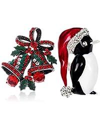 Echana 2匹 キラキラ ブローチ 胸元 美しくて輝き 鈴 ペンギン 飾り クリスマス カラー プレゼント