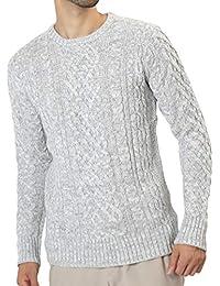 JIGGYS SHOP ニット セーター メンズ クルーネック Vネック ケーブル編み 厚手 長袖 防寒