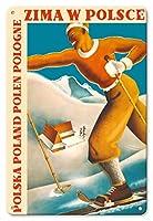 22cm x 30cmヴィンテージハワイアンティンサイン - ポーランドの冬 - ポリッシュ - ポーランド - ビンテージな世界旅行のポスター によって作成された ミークツィスワウ・ルザンスキー・アンド・R. ヴィウカン c.1935