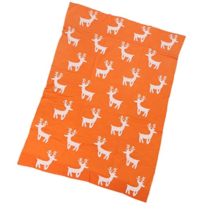 Lovoski コットン ブランケット 子供毛布 ベビー毛布 ソファ 旅行 車 多機能 全2色2サイズ  - L, オレンジ