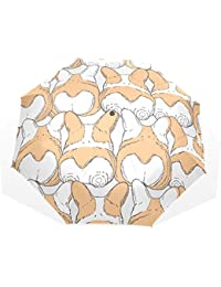 AOMOKI 折り畳み傘 折りたたみ傘 日傘 手開き 三つ折り 晴雨兼用 梅雨対策 UVカット 耐強風 8本骨 男女兼用 コギ 犬柄 おしり