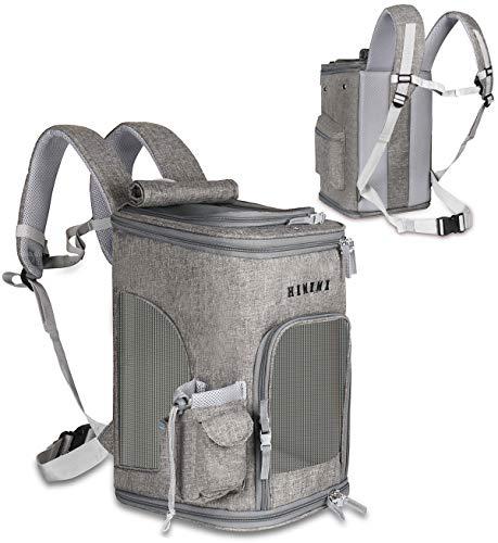 ペットキャリーバッグ ペットバッグ リュック型 抱っこバッグ 高品質 通気性抜群 軽量 崩れない 飛び出し防止 快適 折りたたみ 中小型犬適用 (グレー(ライト))