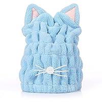 タオルキャップ 猫耳 ヘアドライキャップ 吸水 乾燥用 お風呂用 マイクロファイバー 可愛い (ブルー)