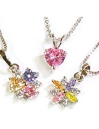 One&Only Jewellery 【特選福袋】 マルチカラー キュービックジルコニア ペンダント ネックレス K18GP