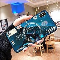 スマートフォンケース iPhone用 レトロなカメラ電話ケース 携帯電話ケースiphone8pメッセンジャーバッグストラップ 適用する Apple,Blue-1,iPhone-7/8Plus