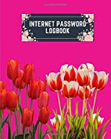 internet password logbook: 8x10 cute internet password book | cool internet password logbook paper with page numbers | internet password logbook | internet password notebook journal paper | tulip flower spring plant magenta color