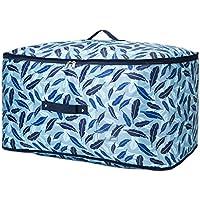 大型ストレージバッグブルーフェザーパターンオックスフォード布防水モイスチャージャーポータブル高品質の旅行オーガナイザー羽毛布団キルト衣類移動仕上げ荷物収納袋 (サイズ さいず : 40 * 25 * 15cm)
