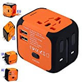 Universal Travel Adapter, International Power Adapter with 2.2A Dual USB Ports Worldwide AC Wall Outlet and Safety Fuse for Europe, UK, AU, Asia &US(Orange)