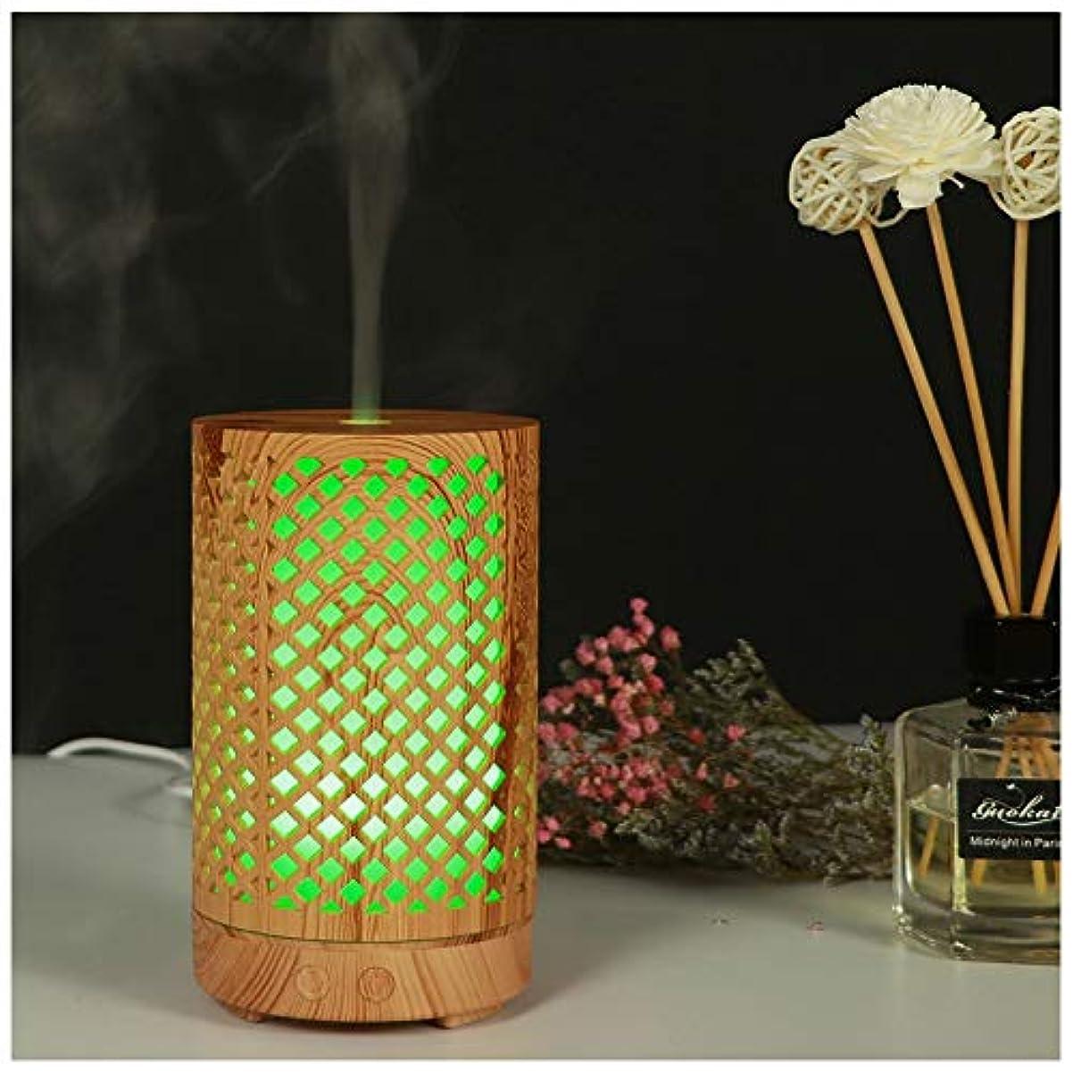 ライド異なるモードウッドグレインエッセンシャルオイルディフューザー超音波加湿器ポータブルアロマディフューザー7色LED付きホームオフィス用ヨガスパ(100ml),Lightwoodgrain