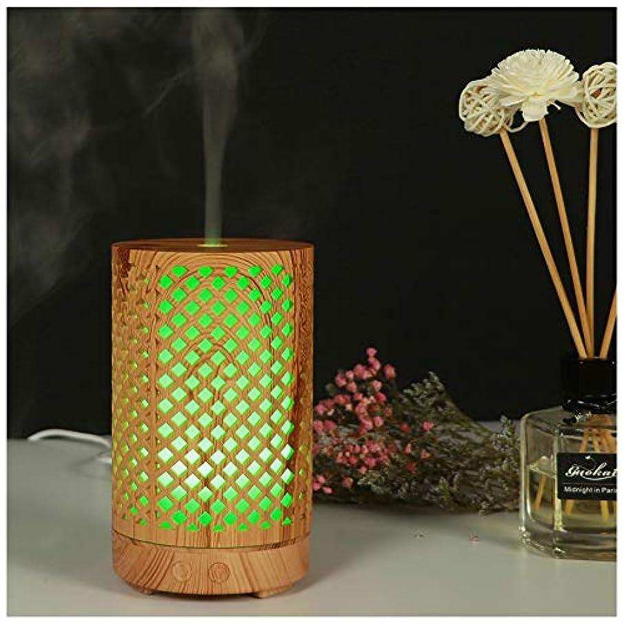に対して鋭くレモンウッドグレインエッセンシャルオイルディフューザー超音波加湿器ポータブルアロマディフューザー7色LED付きホームオフィス用ヨガスパ(100ml),Lightwoodgrain